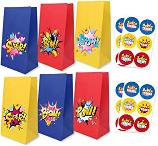 Cartoon Party Supplies Goodie Bags with Thank You Stickers, Cartoon Birthday Favor Bags for Theme Party Decorations Boys & Girls Birthday Party Treat Bags, Set of 24