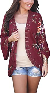 Hibluco Women's Casual Flare Sleeve Lace Hem Floral Solid Cardigan