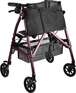 Stander EZ Fold-N-Go Rollator Lightweight Junior Folding Petite Walker with Wheels and Seat for Seniors & Adults, Regal Ro...