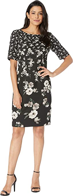 Sheath Dress in Floral Printed Single Crepe