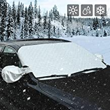 AUTSCA Car Windshield Snow Cover Sun Shade Protector with Rearview Mirror Protector and Anti-Theft Edges (Mid)