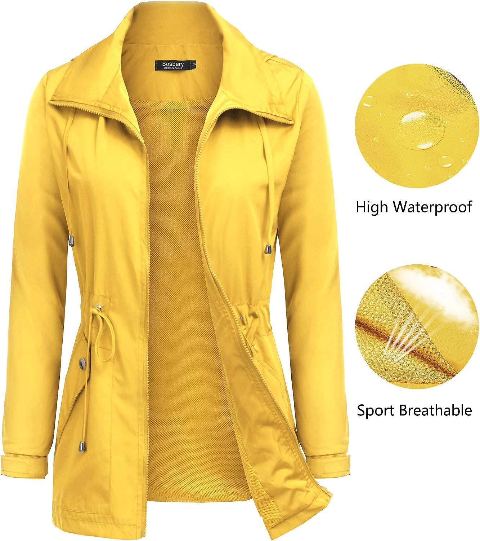 BOSBARY Raincoats Women's Waterproof Lightweight Rain Jacket Outdoor Hooded Trench