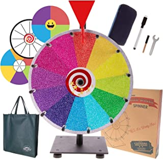 "Prize Wheel Spinning Wheel for Prizes - Dry Erase Spin Wheel Game Small 12"" inch Tabletop Stand Spinner Board with 4 Color & White Wheels, Marker Pen, Eraser & Bag 