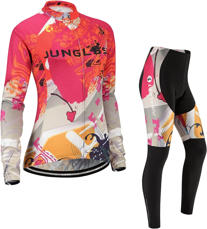 Cycling jersey Set, Maillot de Cyclisme Women Femme Long sleeve Manches Longues(S5XL,option bib Cuissard,3D pad Coussin) N242
