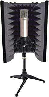 """Pyle Sound Isolation Recording Booth Shield - 2"""" Thick Foldable Studio Microphone Dampening Filter Foam Cube, Audio Acoustic Noise Isolator Platform Pads w/ Wedgie Padding, Tripod Base Stand - PSMRS08"""