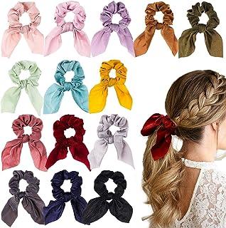 WATINC 14 Pcs Bowknot Hair Scrunchies Super Soft Silk Scarf Hair Ties 2 in 1 Design Solid Colors Scrunchie Ponytail Holder...