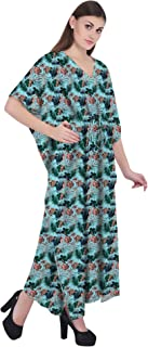 RADANYA Tropical Women's Casual Loose Maxi Long Kaftan Dress 3/4 Sleeve Cotton Caftan
