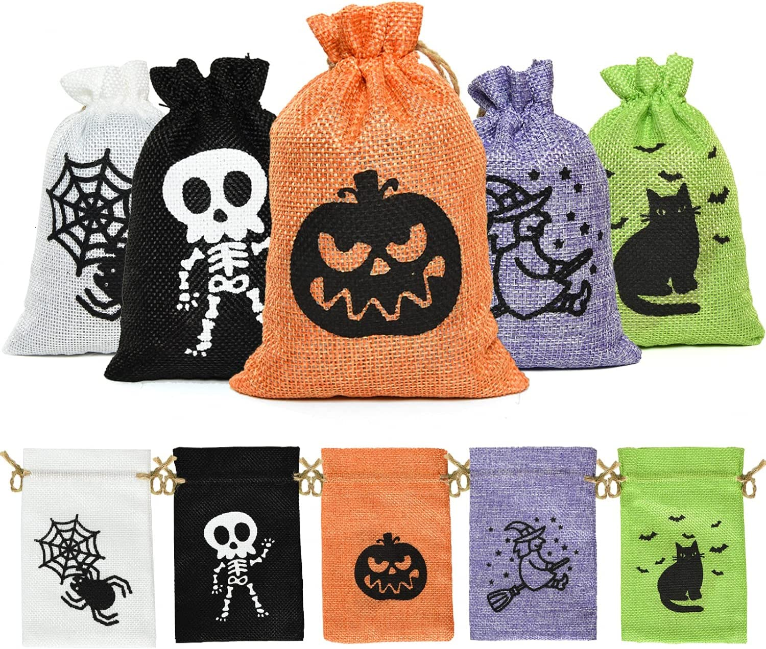 JETEHO Halloween Treat Burlap Bags, 50 PCS Halloween Candy Bags with Drawstrings Goodie Gift Bags for Kids, Trick or Treat, Party Favor, Halloween Party Supplies