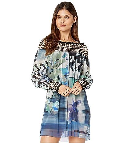 FUZZI Long-Sleeve Short Dress (Blueberry) Women