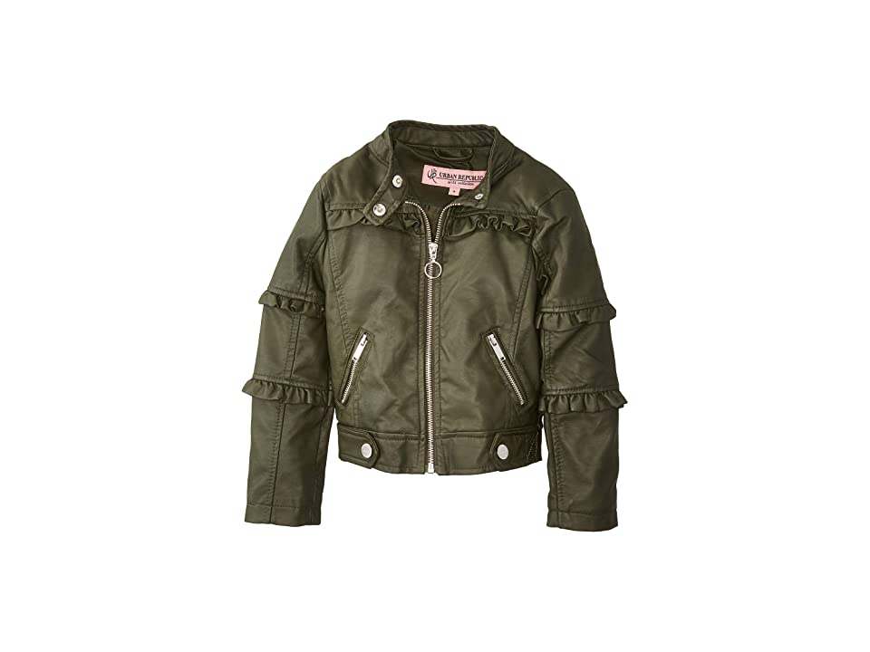 Urban Republic Kids Bella Faux Leather Ruffle Jacket (Little Kids/Big Kids) (Basil Green) Girl