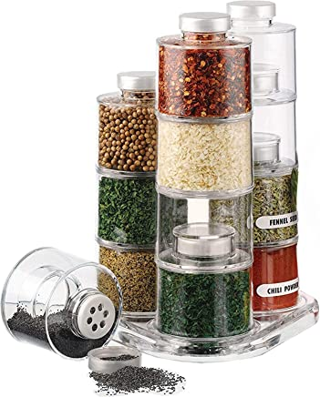 ORPIO (LABLE) 6 Bottle Plastic Stackable Spice Rack Carousel Spice Tower Rack with Lids (Transparent)