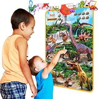 Just Smarty Dinosaur Interactive Learning Poster and Dinosaur Toys for Kids 3-5 with Music, Games and Educational Activiti...