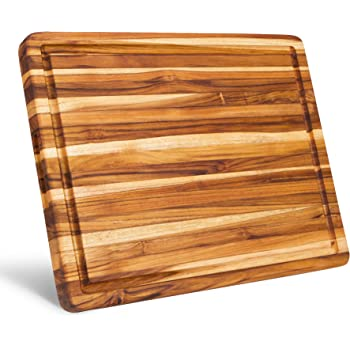 Large Reversible Teak Wood Cutting Board [18x14x1.25 Inch] | Carving Board with Juice Groove | Edge Grain Chopping Block with Hand Grips - Premium Edition