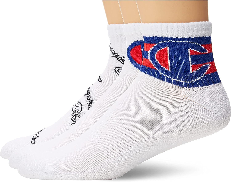 Champion Men's Multi Logo Ankle Sock, 3-Pair