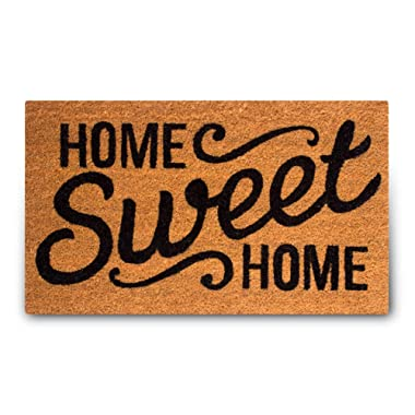 Pure Coco Coir Doormat with Heavy-Duty PVC Backing - Home Sweet Home - Size: 17-Inches x 30-Inches - Pile Height: 0.6-Inches - Perfect Color/Sizing for Outdoor/Indoor uses.