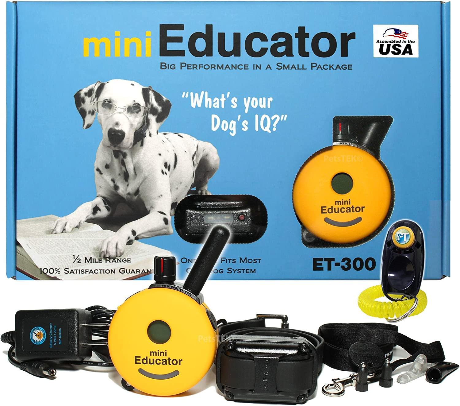 Bundle of 2 Items  ECollar  ET300  1 2 Mile Remote Waterproof Trainer Mini Educator  Static, Vibration and Sound Stimulation Collar With PetsTEK Dog Training Clicker Training Kit