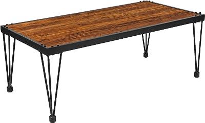 Flash Furniture Baldwin Collection Rustic Walnut Burl Wood Grain Finish Coffee Table with Black Metal Legs