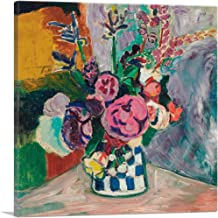 "ARTCANVAS Still Life of Peonies in a Vase 1907 Canvas Art Print by Henri Matisse - 18"" x 18"" (0.75"" Deep)"