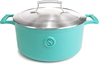 SAVEUR SELECTS Enameled Cast Iron Casserole, 5-Quart Dutch Oven with Double-walled Stainless Steel Lid, Saveur Blue, Voyag...