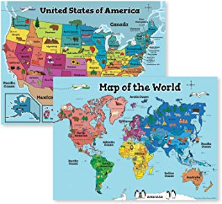 USA Wall Map & Kids World Map for Kids Wall (Laminated Maps for Kids) 2 Classroom Posters Perfect for Map Art - 18x24 (Laminated) 2 Wall Maps Included