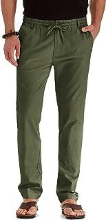 Mr.Zhang Men's Drawstring Casual Beach Trousers Linen Summer Pants