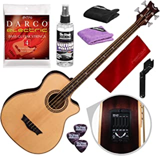 Dean Exotica Supreme Cutaway Acoustic-Electric Bass, Satin Natural with Guitar Care Kit & Accessory Bundle