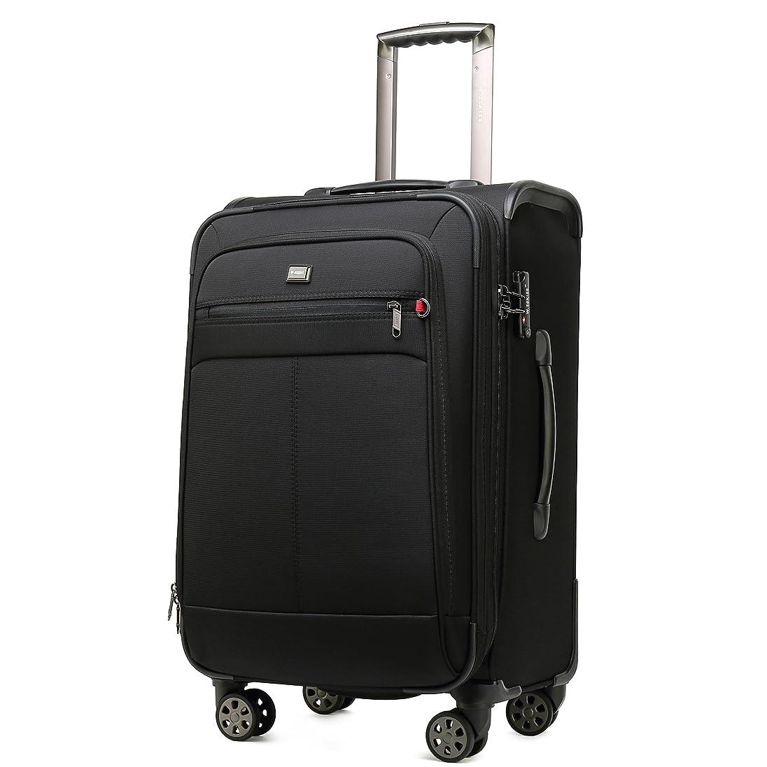 意気込み明らか求人クロース(Kroeus) ソフトキャリーバッグ TSAロック スーツケース 大型キャスター マチ拡張 大容量 軽量 旅行 出張 ネームタグ付 防塵カバー