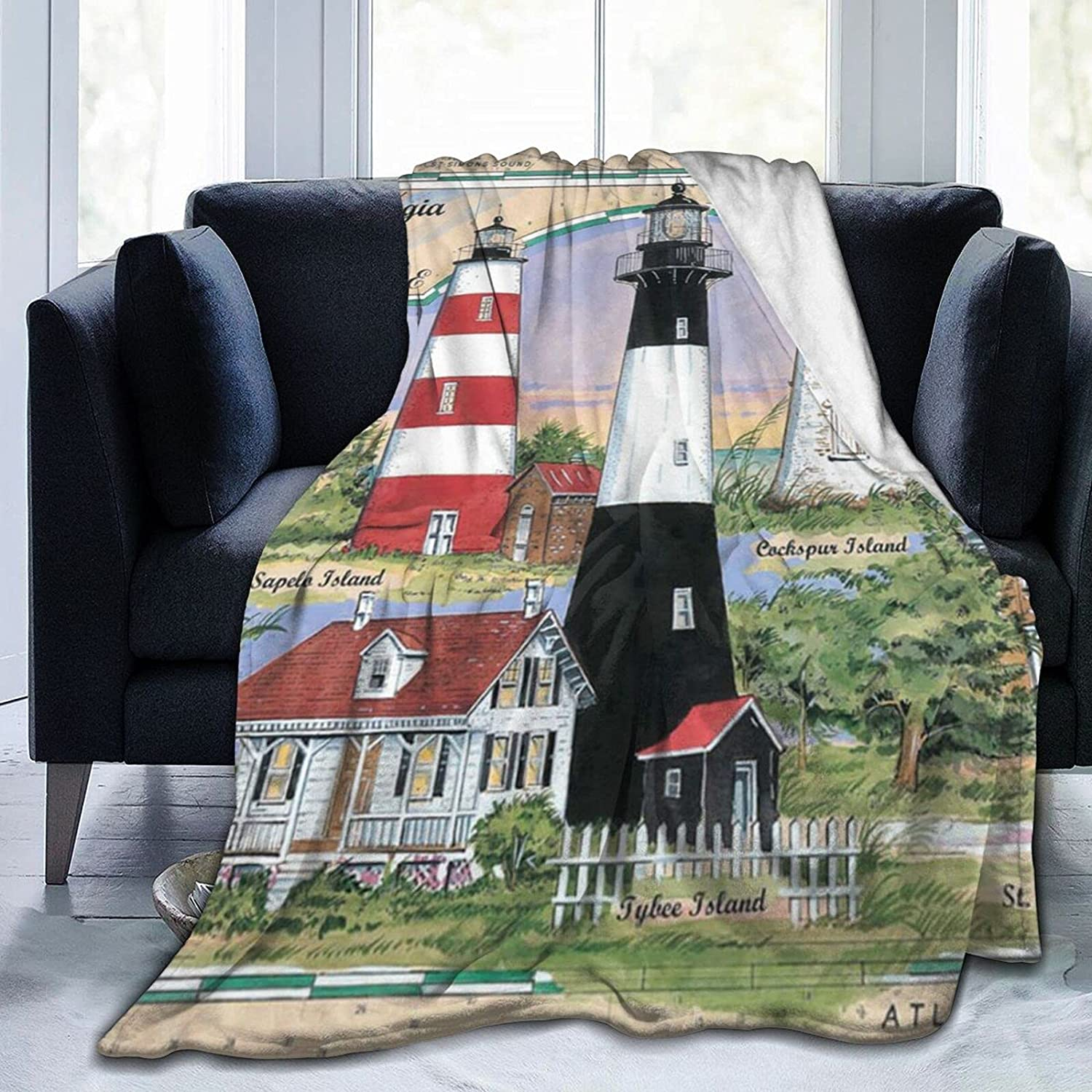 Large discharge sale Uyomarer Lighthouses of Florida2 Throw Throws Blanket for Soft SALENEW very popular A