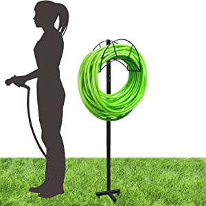 Eapele Garden Hose Stand Holder Water Hose Hanger Freestanding, 5ft(60inch) Tall, Holds up to 125ft Hoses, Heavy Duty Metal Frame, Detachable and Portability