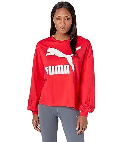 PUMA Classics Logo Long Sleeve Top (Hibiscus) Women