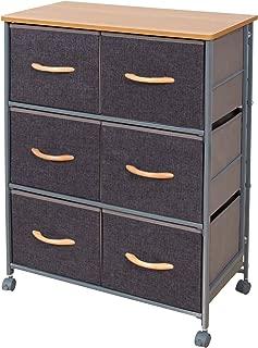 URFORESTIC Drawer Storage Organizer Unit W/Easy Pull Fabric Bins, Wood Top Dresser Steel Frame Cabinet Rolling Cart for Bedroom, Entryway, Hallway, Dresser Storage Tower (6 Drawer)