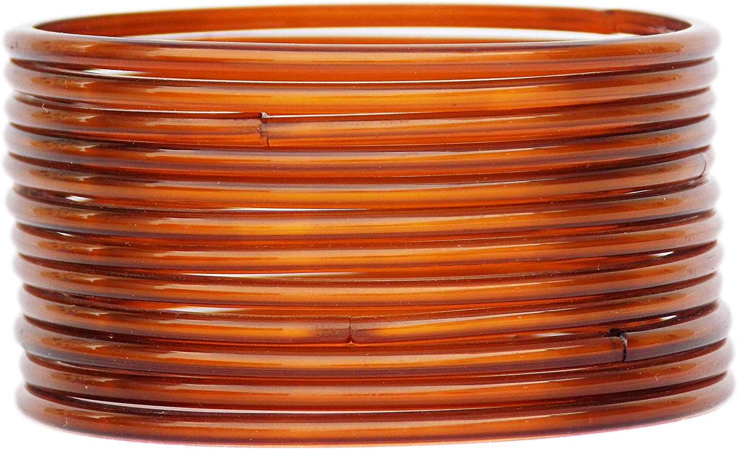JD'Z COLLECTION Ethnic Fashion Jewelry Daily Wear Indian Designer Glass Plain Bangle Set For Girls & Women Churi Bracelet Traditional Bollywood Bangles Set Of 12 (Brown 2.6)