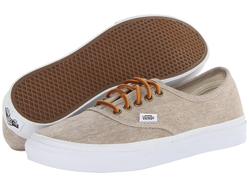 Vans Authentictm Slim ((Washed Canvas) Cream/True White) Skate Shoes