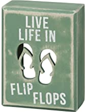 Primitives by Kathy 21005 Beach House Décor Box Sign, 3 x 4-Inches, Flip Flops