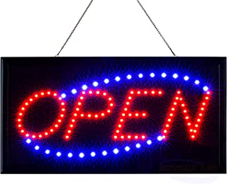 LED Neon Open Sign for Business: Lighted Sign Open with Static and Flashing Modes – Electric Light up Signs for Stores, Bars, Barber Shops (19 x 10 inches, Model 2)