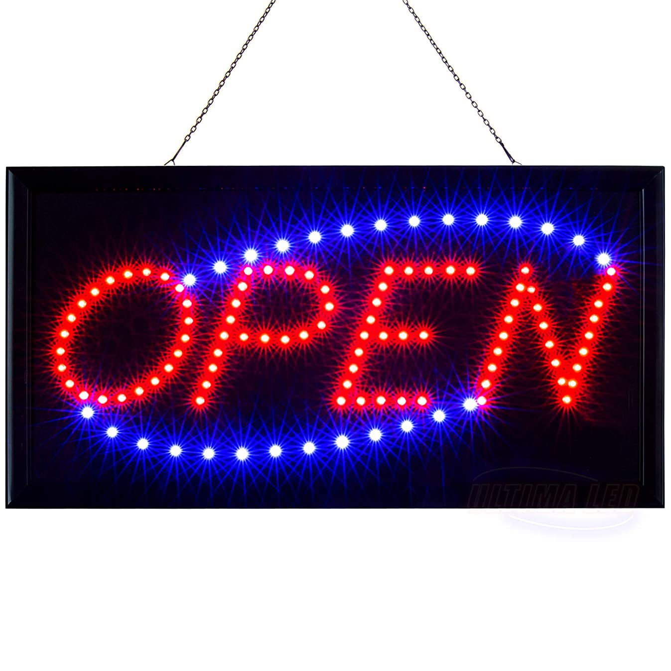 LED Neon Open Sign for Business Displays: Light Up Sign Open with 2 Flashing Modes - Electronic Lighted Signs for Shops, Hotels, Liquor Stores (19 x 10 inches, Model 2)
