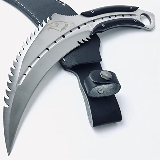 13 Inch Extra Large Tactical Eagle Karambit Fixed Blade CSGO Claw Knife - 6.5 Inch Blade with Leather Sheath Heavy Duty Full Tang D2 Steel Outdoor Camp Survival Hunting Knives