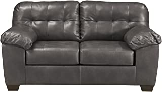 Signature Design by Ashley - Alliston Contemporary Faux Leather Loveseat, Gray