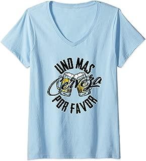 Womens Uno Mas Cerveza Por Favor - One More Beer Please Gift V-Neck T-Shirt