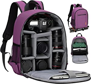 TARION Camera Bag Professional Camera Backpack Case with Laptop Compartment Waterproof Rain Cover for DSLR SLR Mirrorless Camera Lens Tripod Photography Backpack for Women Men Photographer Purple TB-S
