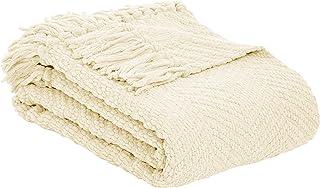 Amazon Basics – Decke mit Fransen, Strick, Elfenbeinweiß, 130x150cm
