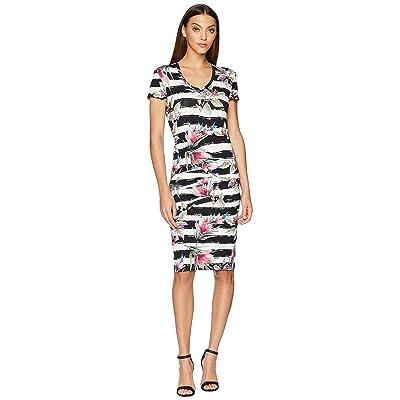 Nicole Miller Cap Sleeve Dress (Black/White) Women