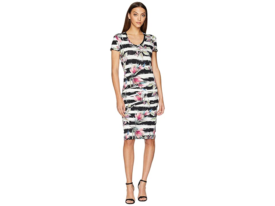 Nicole Miller Cap Sleeve Dress (Black/White) Women