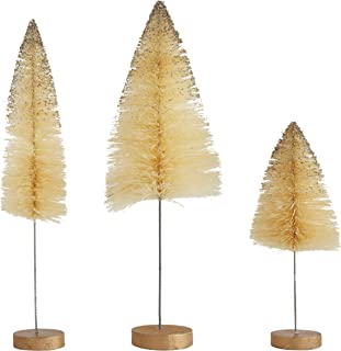 Creative Co-Op Sisal Bottle Brush Trees, Cream with Gold Glitter, Set of 3
