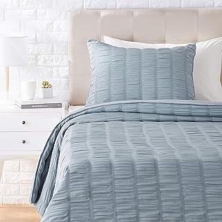 Amazon Basics Seersucker Comforter Set - Premium, Soft, Easy-Wash Microfiber - Twin/Twin XL, Dusty Blue