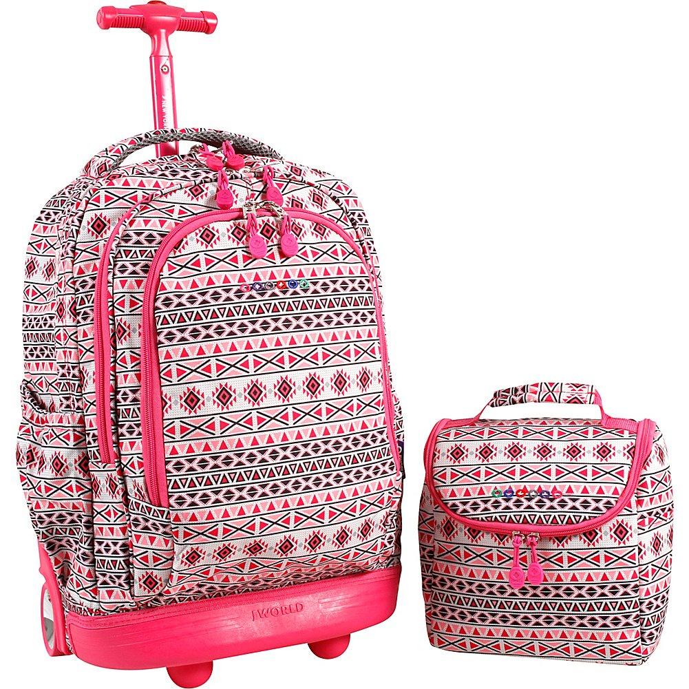 J World Sunrise Rolling Backpack and Corey Lunch Bag Bundle Set Water Mark