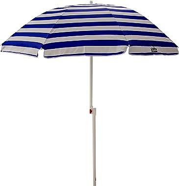 Shelta Australia Noosa Parasol de plage à rayures bleues et blanches 180 cm