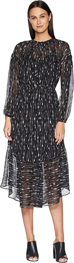 Brushstroke Shirred Seamed Dress