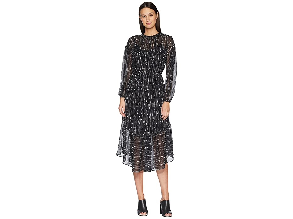 Vince Brushstroke Shirred Seamed Dress (Black) Women