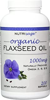 Premium Organic Flaxseed Oil Softgels. Excellent Source of Omega 3 6 9 for Healthy Heart, Skin and Hair! Boost Metabolism ...